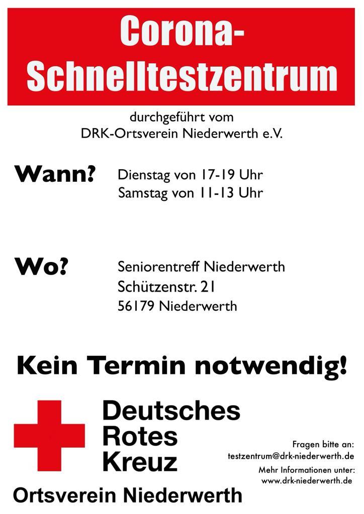 Plakat Öffnungszeiten Testzentrum